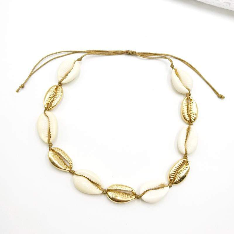Gold Plated Natural Sea Shell Bracelet & Necklace - Euforia Jewels