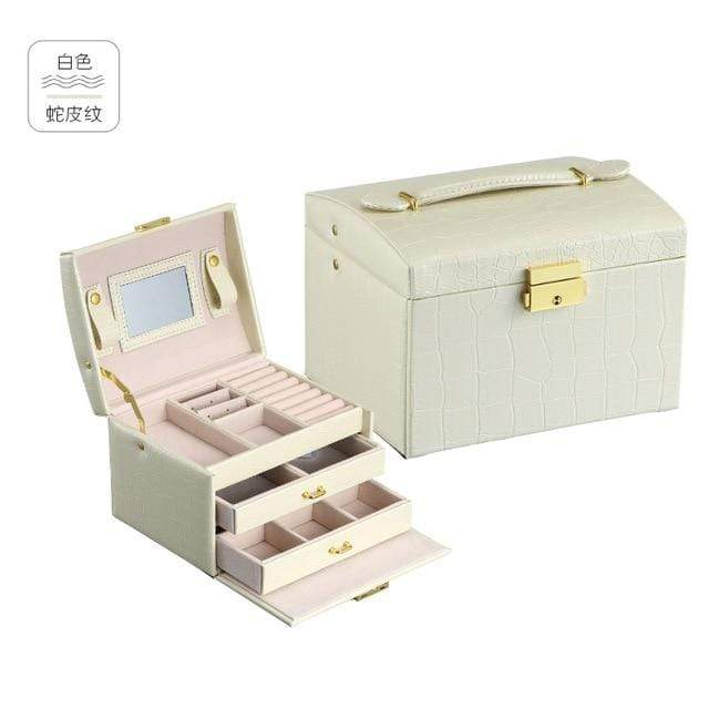 Guanya high quality three-layer Crocodile pattern pu leather jewelry box princess Storage Box girl gift 17.5*14*13cm - Euforia Jewels