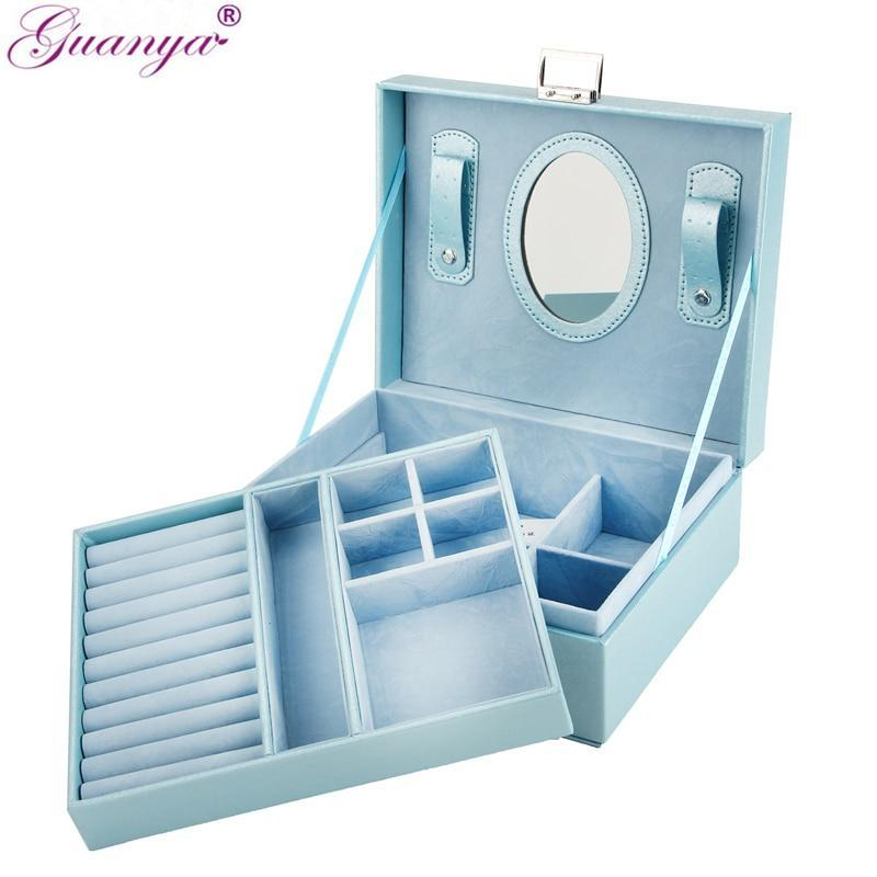 Guanya New 23*9*18.5cm Double layer Portable Jewelry Case Leather Jewelry Box Organizer Princess Dressing Birthday Gift /Casket - Euforia Jewels