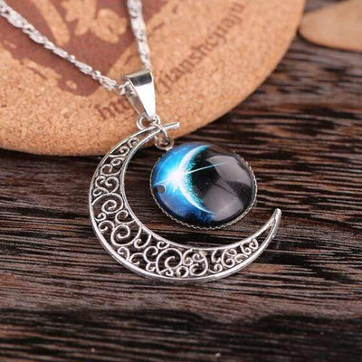 Handmade Silver Crescent Moon Moonstone Retro Charm Crystal Necklace Galaxy Cosmic Star Universe Charm Pendant Jewelry For Gift - Euforia Jewels