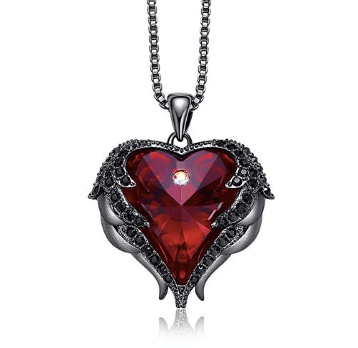 Heart Of Angel Swarovski Necklaces Fashion Jewelry For Women Pendant Blue Rhinestone Lover Valentine' Gifts Cdyle Crystals - Euforia Jewels