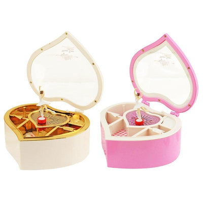 Heart Shape Dancing Ballerina Music Box PLastic Jewellery Box Girls Carousel Hand Crank Music Box Mechanism Gift Romantic Toy - Euforia Jewels