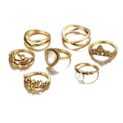 Hollow Lotus Ring Sets for Women Anillos Punk Vintage Retro Finger Tibetan Flower Knuckle Midi Rings Party Boho Jewellery - Euforia Jewels