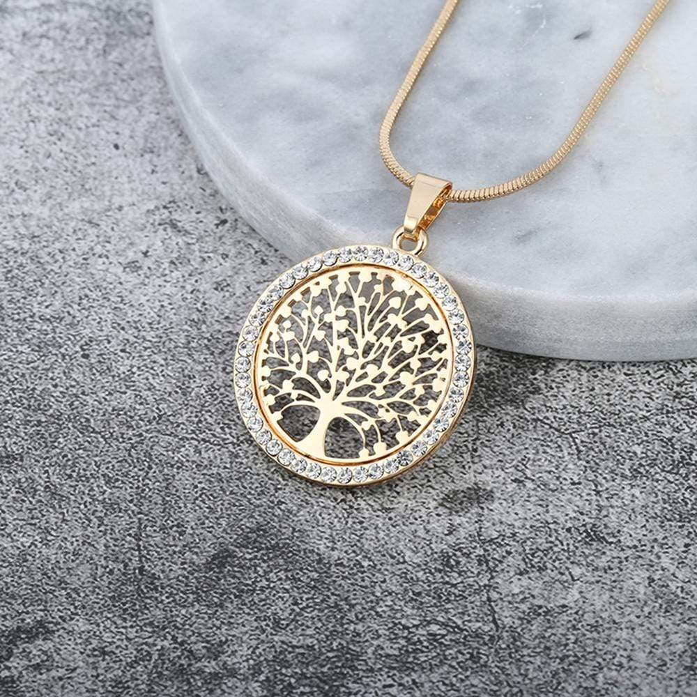Hot Tree of Life Crystal Round Small Pendant Necklace Gold Silver Colors Bijoux Collier Elegant Women Jewelry Gifts Dropshipping - Euforia Jewels