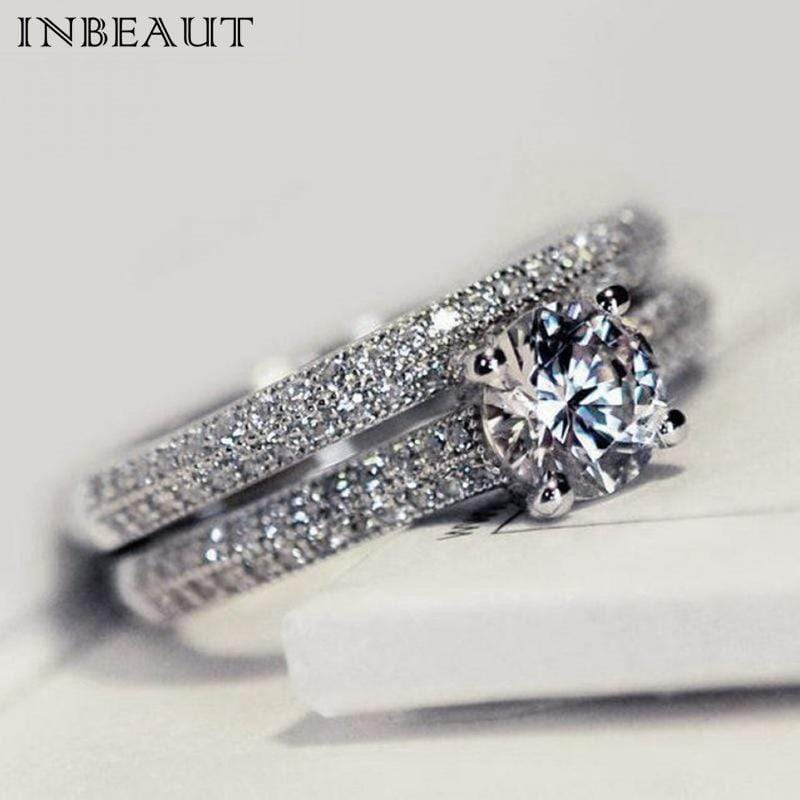 INBEAUT Women Wedding Ring Set Sparkling Perfect Round Cut Zircon Stone Rings Female Party Jewelry 2 Color Silver&Rose Gold - Euforia Jewels