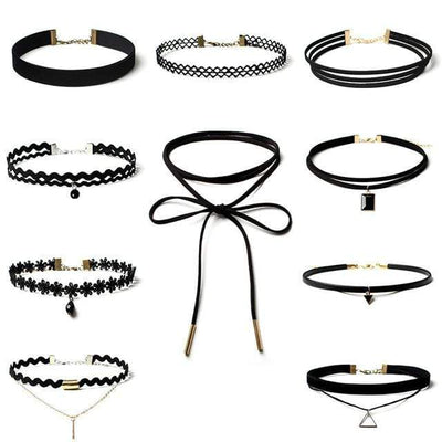 Jewdy 10 PCS/Set Choker Necklaces Gothic Tattoo Black Lace Leather Velvet Collier Women Collar Femme Chocker Jewellery 90S Punk - Euforia Jewels