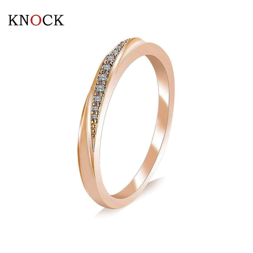 KNOCK  Top Quality Simple Cubic Zirconia Lovers Rose Gold Color Wedding Ring Jewelry Full Sizes Wholesale - Euforia Jewels