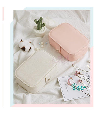 Korean Style Fresh And Simple Girl Earrings Plate Jewelry Box Protable Leather Earrings Ring Multi-function Jewelry Storage Box - Euforia Jewels