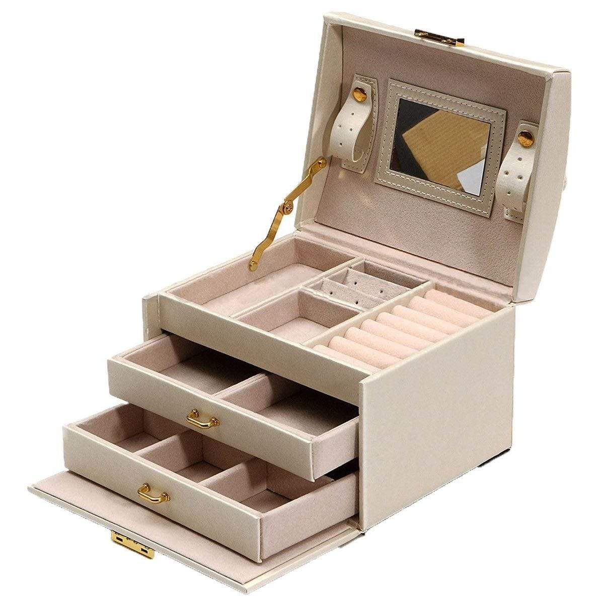 Large Jewelry Packaging & Display Box Armoire Dressing Chest with Clasps Bracelet Ring Organiser Carrying Cases - Euforia Jewels