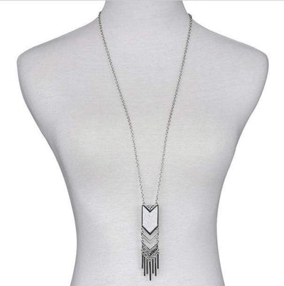 Long Necklace Bohemian Tassel Pendant Necklace New Matte Triangle Necklace GD - Euforia Jewels