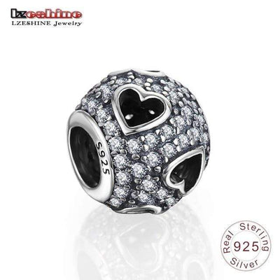 LZESHINE 100% Authentic 925 Sterling Silver Heart Shape Charm Beads Fit Pandora Charm Bracelet Original Silver Jewelry 0014 - Euforia Jewels
