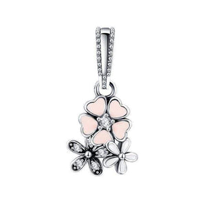 LZESHINE 925 Sterling Silver Flower Charm Pendant Beads Fit Original Pandora Charm Bracelet Jewelry Accessories Wholesale Price - Euforia Jewels