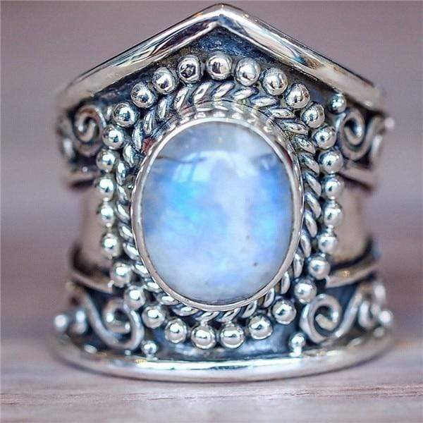 Middle East Africa Antique Silver Oval Large opal ring Boho Jewelry Moonstone Gems Ring Wedding Engagement Jewellery - Euforia Jewels