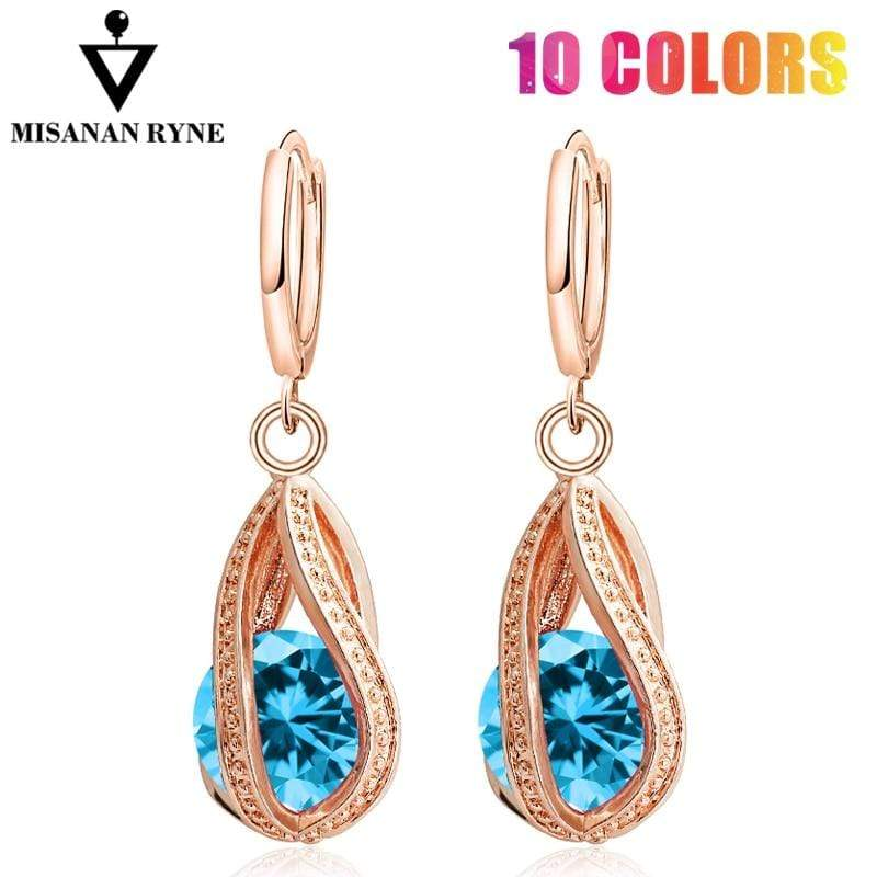MISANANRYNE Nice Shipping New Fashion Women/Girl's Gold Color white/pink/purple/green CZ Dangle Earrings Jewelry - Euforia Jewels