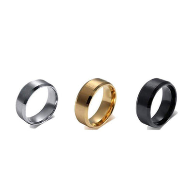 New Stainless Steel Ring Titanium Silver Black Gold - Euforia Jewels