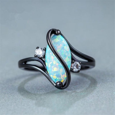 Oval Opal Stone Ring Black Gold Color Rings Fashion Jewelry For Women and Man Party Gift Wholesale Anillos Mujer - Euforia Jewels