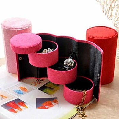 Portable 3 Tiers Compartment Cylinder Lint Roll Up Jewelry Box Case Organizer Holder - Euforia Jewels