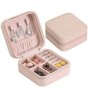 Portable Jewelry Box Zipper Leather Storage Organizer Jewelry Holder Packaging Display Travel Jewelry Case Gift Boxes for Women - Euforia Jewels