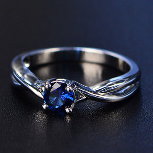 Blue Sapphire Gemstone Engagement 925 Sterling Silver Ring - Euforia Jewels