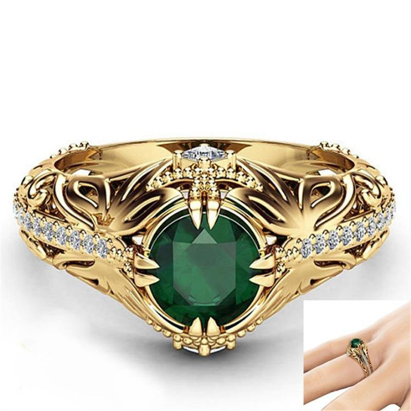 Emerald Gemstone Ring 14k Gold Plated - Euforia Jewels