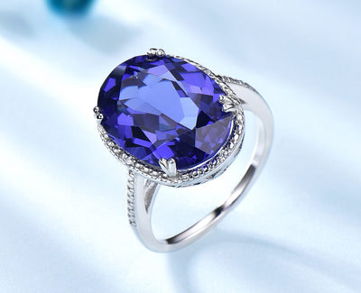 Tanzanite Gemstone Engagement Ring 925 Sterling Silver - Euforia Jewels
