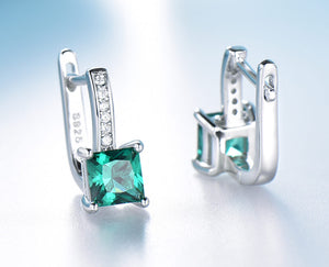 Emerald Gemstone Clip Earrings 925 Sterling Silver - Euforia Jewels
