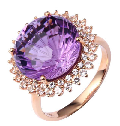 18K Rose Gold Natural Amethyst Wedding Ring 13 Carats - Euforia Jewels