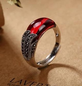 Antique Ruby Ring Vintage 925 Sterling Silver - Euforia Jewels