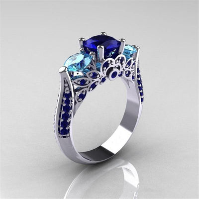 Blue Sapphire Gemstone Engagement Ring 925 Sterling Silver - Euforia Jewels