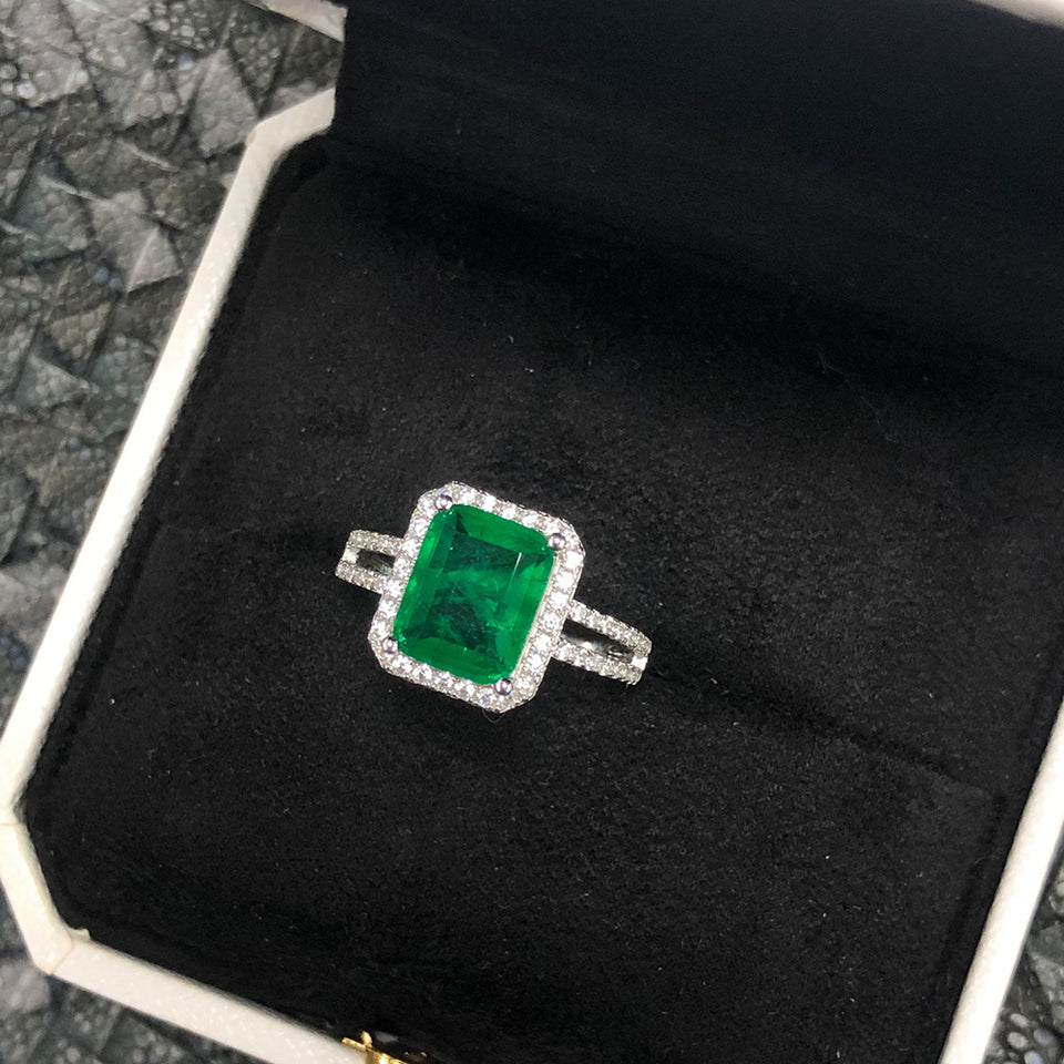 Cocktail Emerald Gemstone Ring 925 Sterling Silver - Euforia Jewels