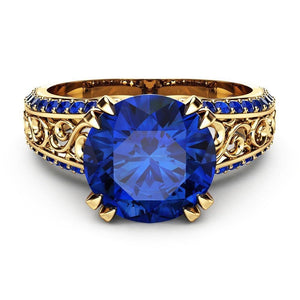 Blue Sapphire Engagement Ring 14k Gold Plated - Euforia Jewels
