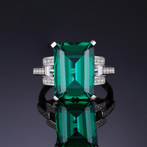 Emerald Ring 925 Sterling Silver 5.9 Cts - Euforia Jewels