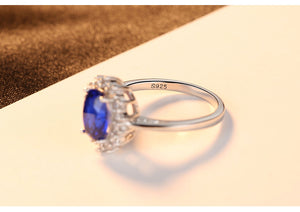 Blue Sapphire Wedding Ring 925 Sterling Silver - Euforia Jewels