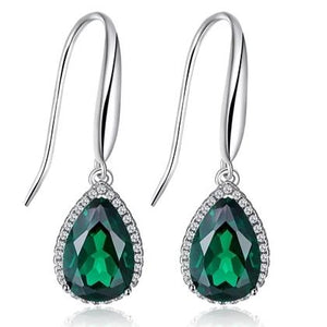 Emerald Drop Earrings in Sterling Silver - Euforia Jewels