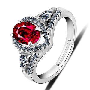 Created Ruby Wedding Ring 925 Sterling Silver - Euforia Jewels