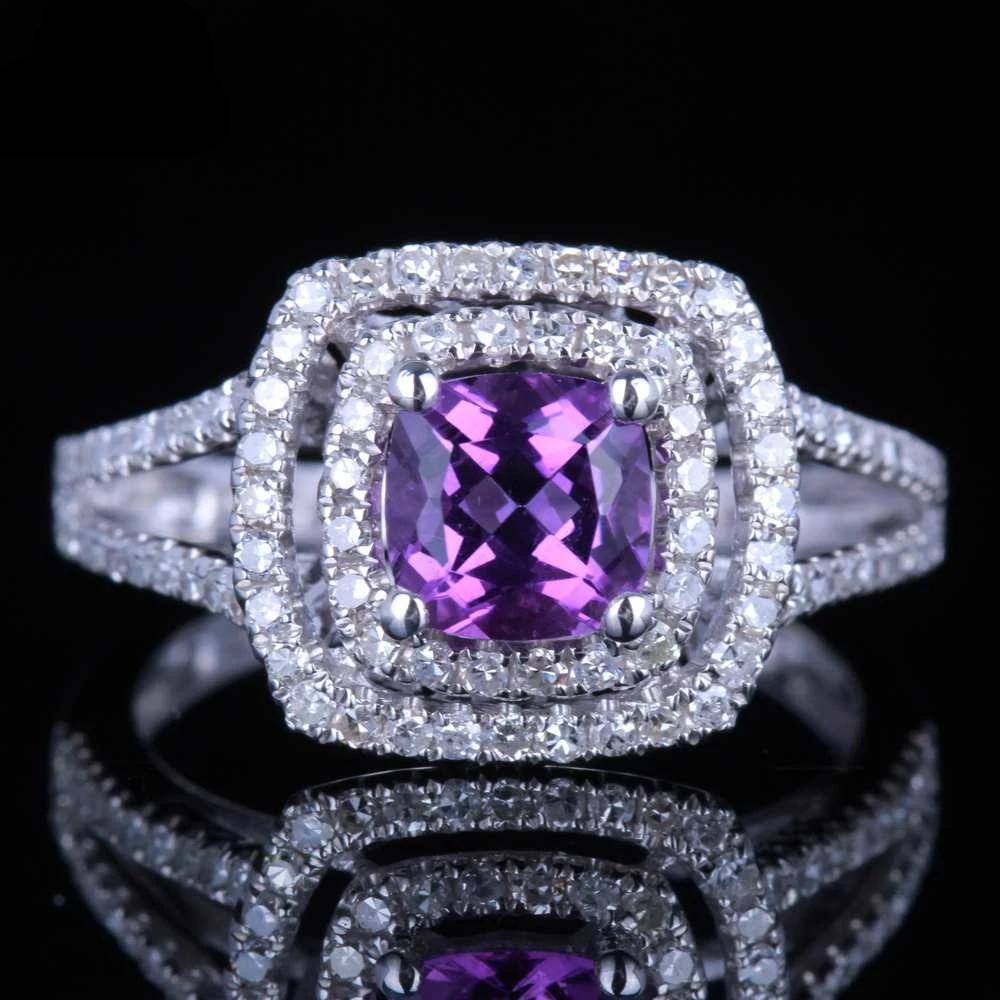 Natural Amethyst Engagement Ring 14K White Gold - Euforia Jewels