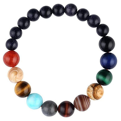 Lovers Eight Planets Natural Stone Bracelet Universe Yoga Chakra Galaxy Solar System Bracelets for Men or Women Jewelry - Euforia Jewels