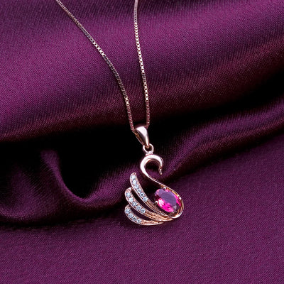 Rose Gold Swan Pendant Necklace 925 Sterling Silver - Euforia Jewels