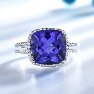 Tanzanite Engagement Ring 925 Sterling Silver - Euforia Jewels