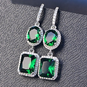 Natural Emerald Drop Earrings 925 Sterling Silver - Euforia Jewels