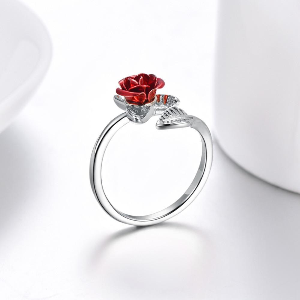 Red Rose Garden Flower Leaves Resizable Finger Ring for Women Valentine's Day Gift Jewelry (Three Colors All Sold Out) R1019 - Euforia Jewels