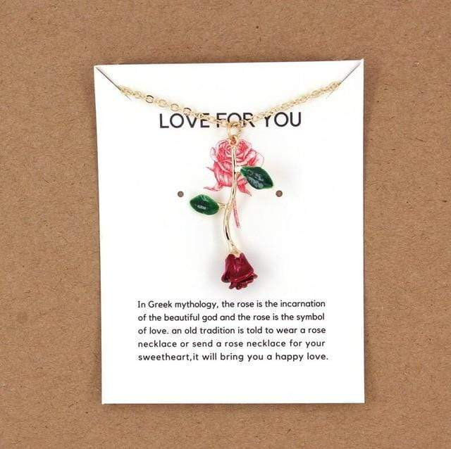 Red Rose Pendant Necklace Valentine's Day rose necklaces gift for lover women
