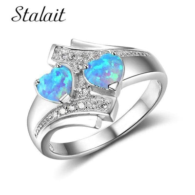 Romantic Moonstone Blue Heart Fire Opal Ring Jewelry For Women Silver Color Zircon Wedding Engagement Rings Bague Argent Femme - Euforia Jewels