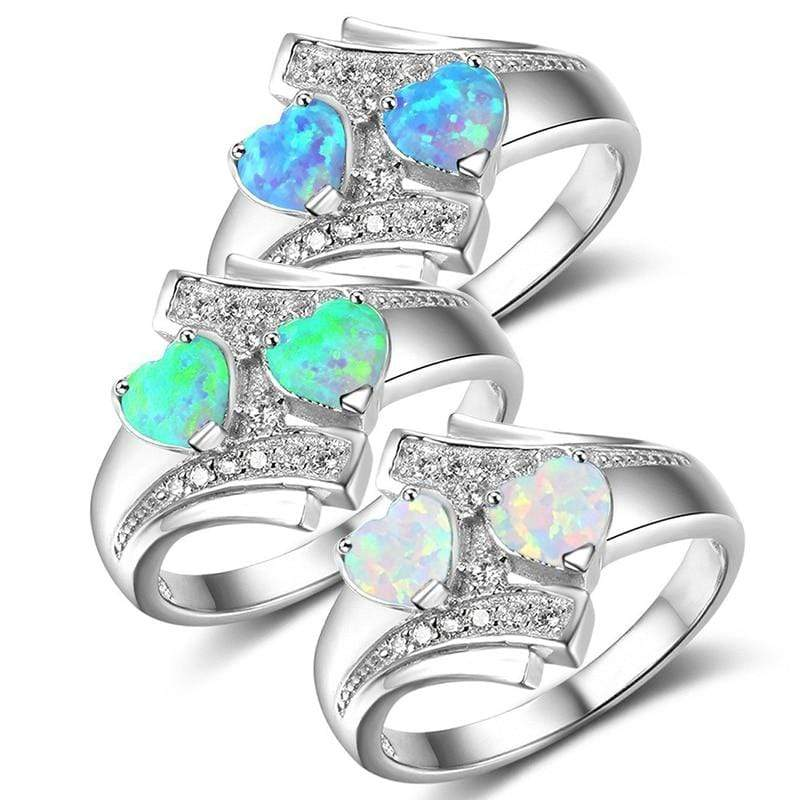 Sale Romantic Moonstone Blue Heart Fire Opal Ring Jewelry For Women Silvery Zircon Wedding Engagement Rings - Euforia Jewels