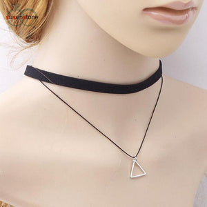 SUSENSTONE Triangle Geometric Pendant Necklaces Sexy Black Charm Bohemia Necklace for Women Leather Choker Necklace - Euforia Jewels