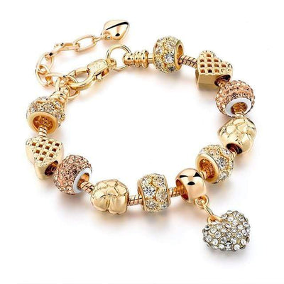 Szelam Luxury Crystal Heart Charm Bracelets & Bangles Gold Bracelets For Women Jewellery Pulseira Feminina Sbr160056 - Euforia Jewels