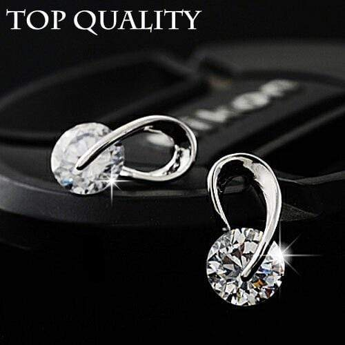 U Shape Silver Color Zircon Crystal Stud Earrings For Women New Brincos Flower Wedding Fashion Jewelry Mujer Best Friend Gift - Euforia Jewels