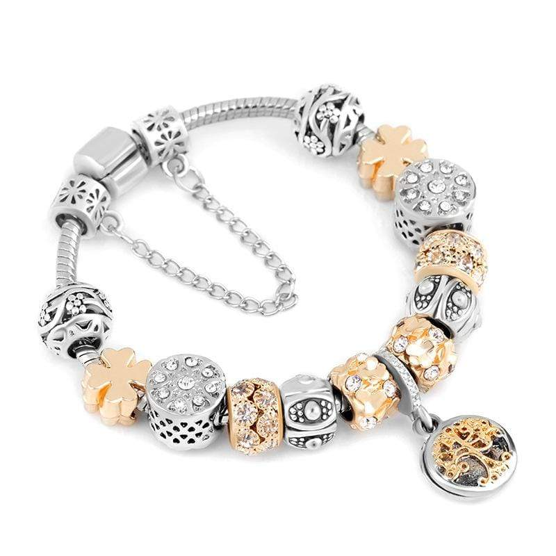 Valentine's Day Gift Charm Bracelet Gold Color Tree of Life Pendant Fits Pandora Bracelets For Women Jewelry - Euforia Jewels