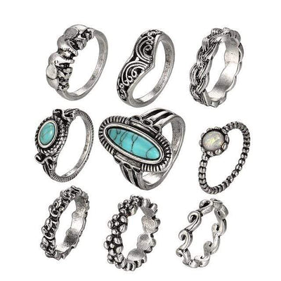 Vintage Elephant Big Stone Rings Fashion Infinity Flower Midi Knuckle Ring Set for Women Statement Jewellery 9 PCS/Lot 2019 - Euforia Jewels