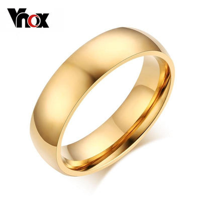Vnox 6mm Classic Wedding Ring for Men / Women Gold / Blue / Silver Color Stainless Steel US size - Euforia Jewels